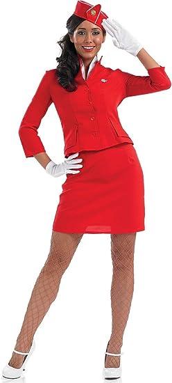 Hat Flight Attendant Uniform Womens Fancy Dress New Cabin Crew Ladies Costume