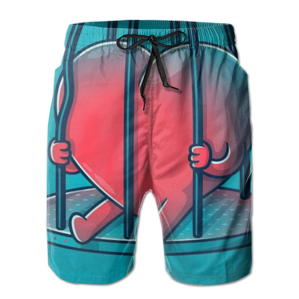 Oiyucv Mens Swim Trunks Red Heart Quick Dry Board Shorts Bathing Suits Swimwear Volley Beach Trunks