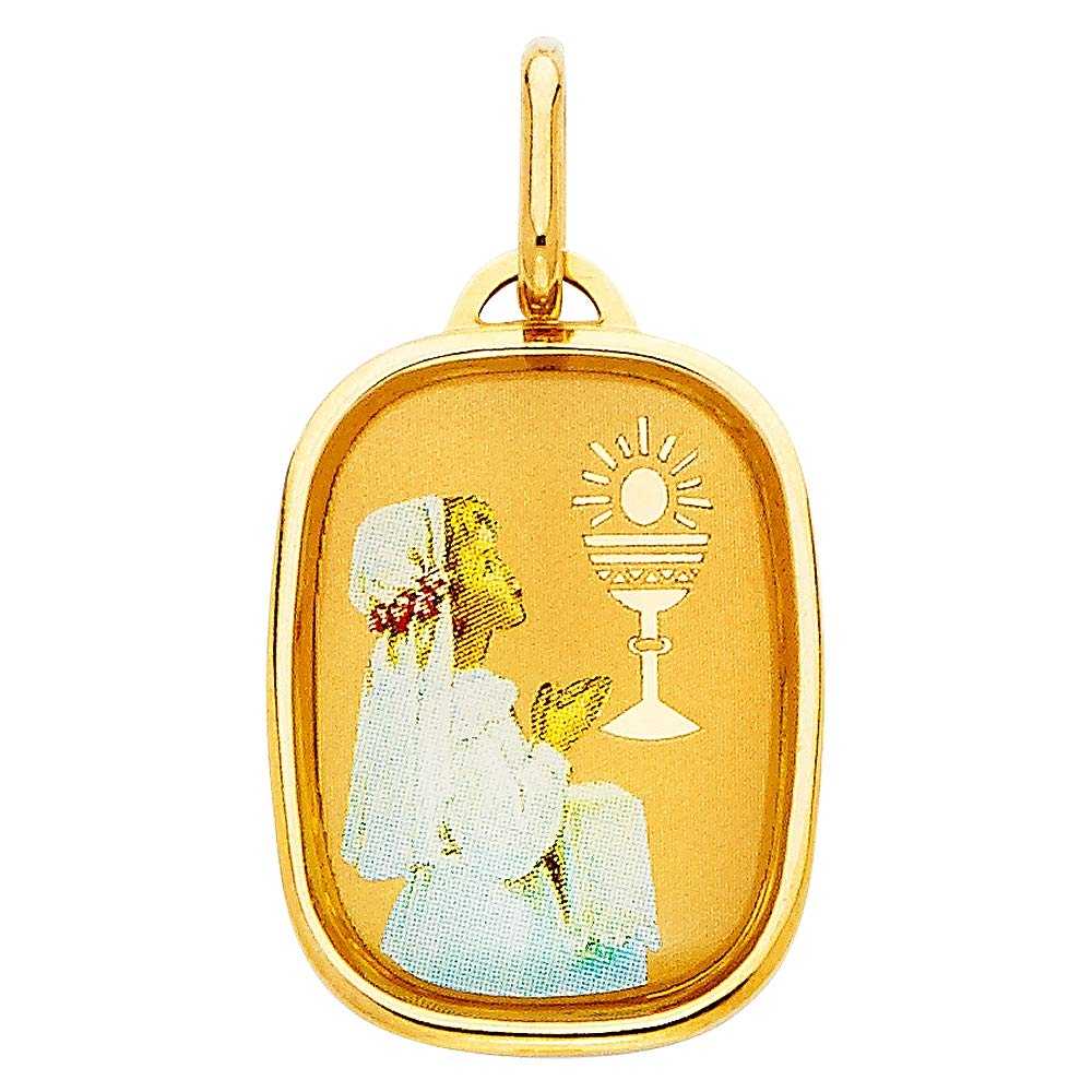 Wellingsale 14K Yellow Gold Polished Religious Girls Prayer and Communion Enamel Charm Pendant