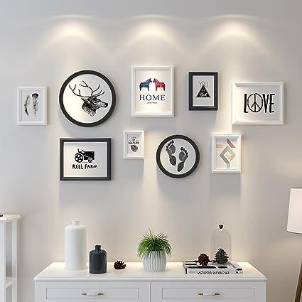 Uncle SamLI 9 Multi Photo Frames Set Simple Nordic Style Wood Creative Dining Room Bedroom