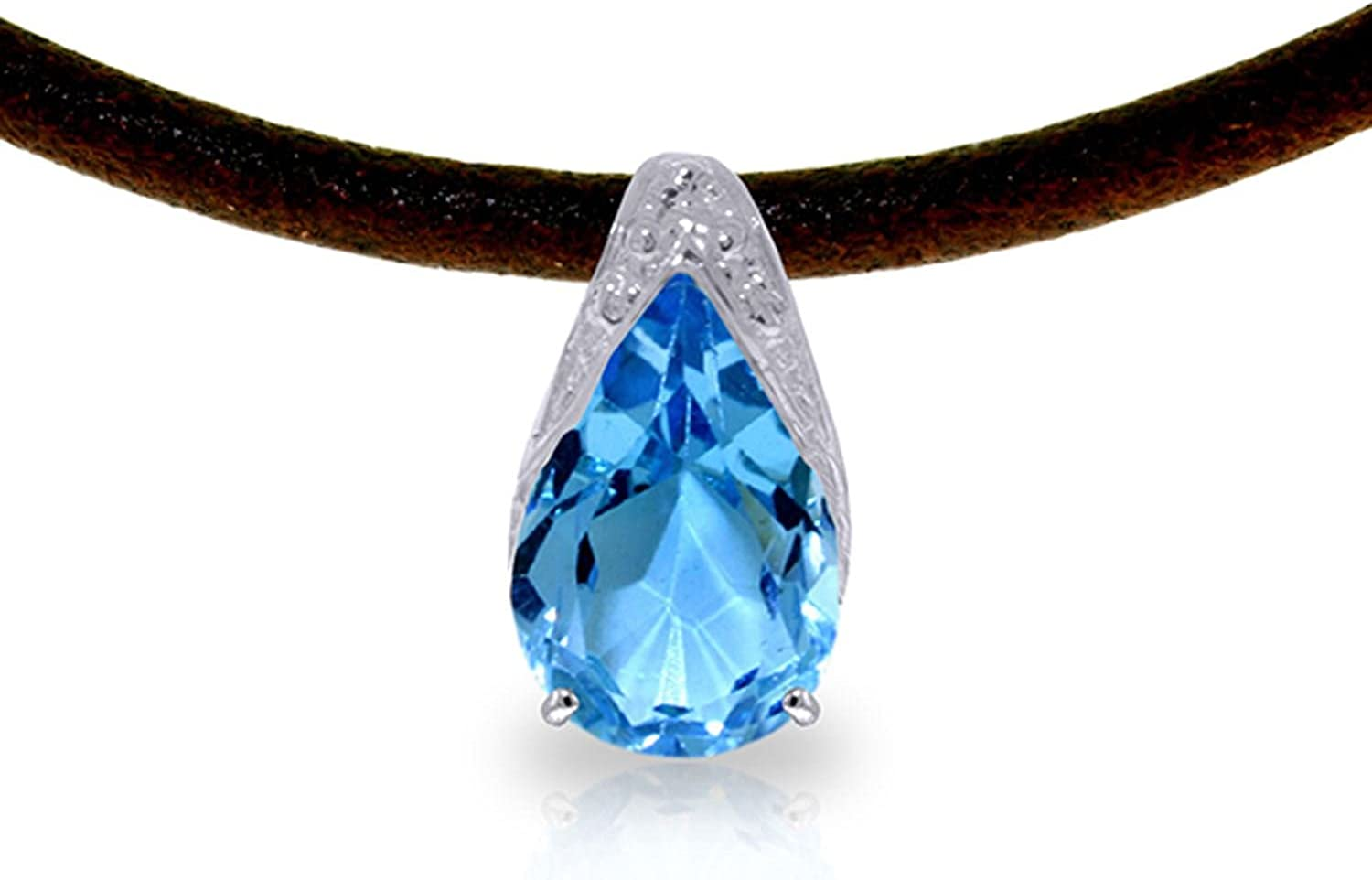ALARRI 6 CTW 14K Solid White Gold Leather Necklace Blue Topaz with 20 Inch Chain Length