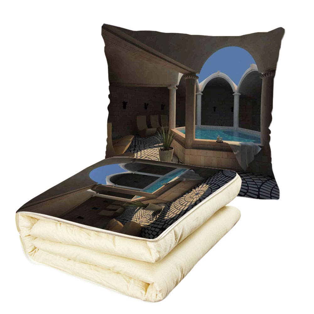 Quilt Dual-Use Pillow Landscape Inside View of A Spa Hotel with Bathtub in The Circle Centre Therapy Photo Print Decorative Multifunctional Air-Conditioning Quilt Grey Blue
