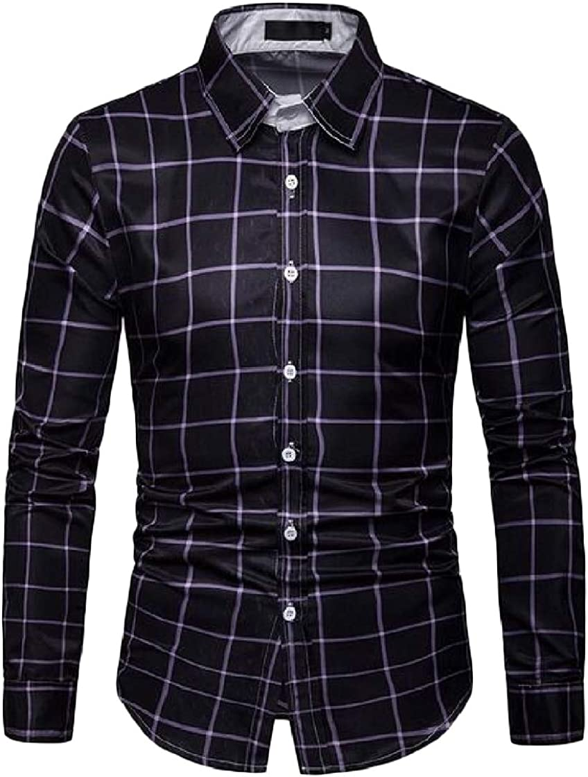 Macondoo Mens Long-Sleeve Easy-Care Classic Fit Casual Plaid Shirt