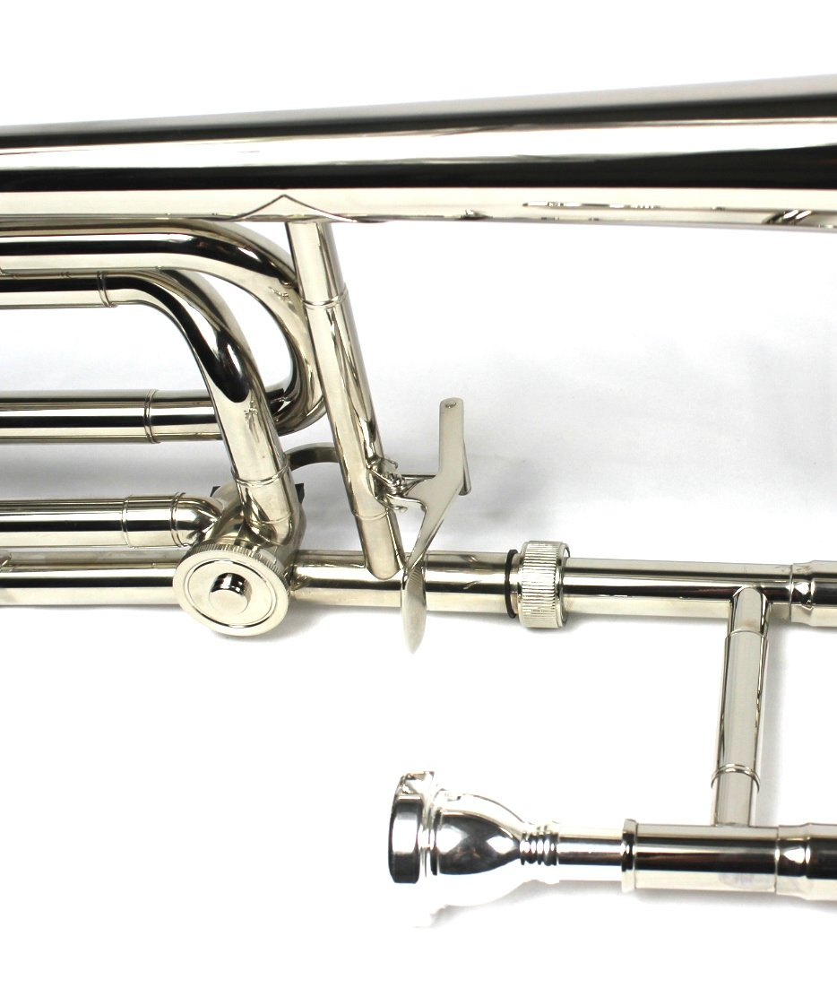Brand New Bb/F Bass Trombone w/ Case and Mouthpiece- Nickel Plated Finish by Moz (Image #5)
