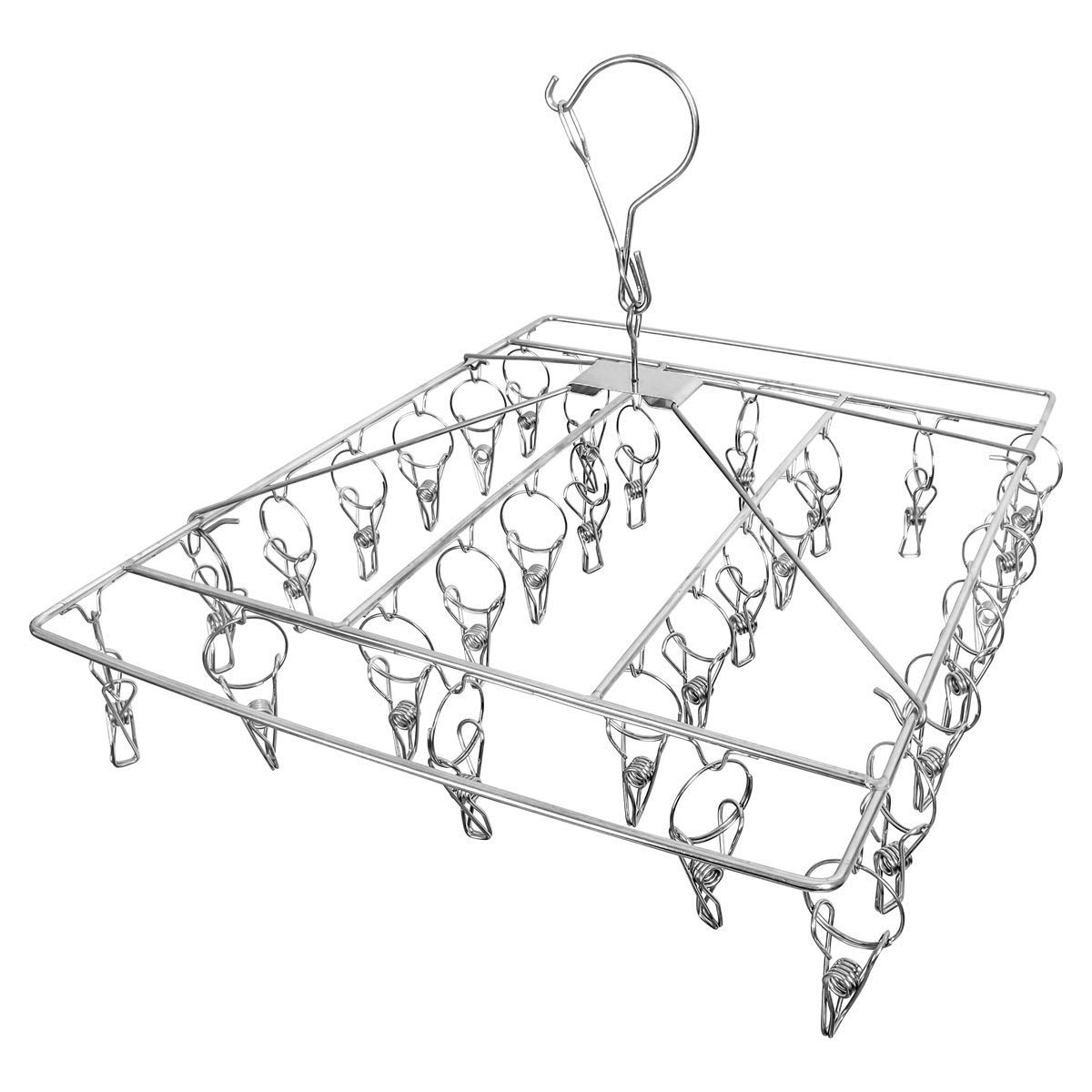 Clothes Drying Rack with 30 Clips Laundry Portable Clothesline Stainless Steel Baby Clothes Foldable Storage Closet