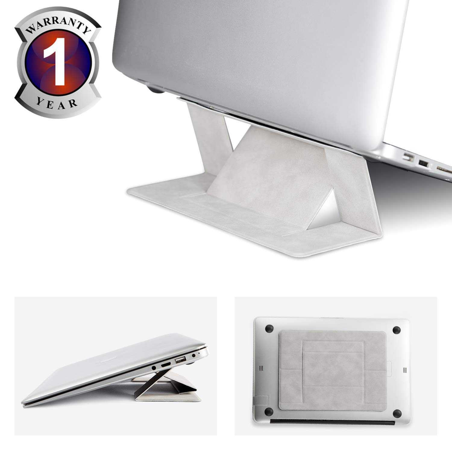 Gray Tablet Invisible Laptop Stand Portable-RUCACIO Adhesive Laptop Stand Lightweight Kickstand Foldable Seamless Appendage of Computer Dual-Angle Adjustment Anti-Slide Fits Mac Book,Laptops,iPad