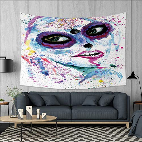 Anniutwo Girls Dorm Decor Grunge Halloween Lady with Sugar Skull Make Up Creepy Dead Face Gothic Woman Artsy Tapestry Table Cover Bedspread Beach Towel W71 x L60 (inch) Blue Purple -