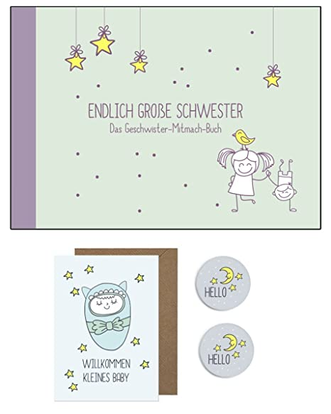 regalo para nacimiento para grandes Hermana/pequeño hermano: Libro + Tarjeta + 2 x