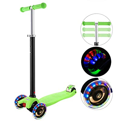 Hikole Scooter for Kids with 3 LED Wheels – Adjustable Height, Lean to Steer Design, 3 Wheels Kick Scooter for Girls & Boys 2-12 Years Old : Sports & Outdoors