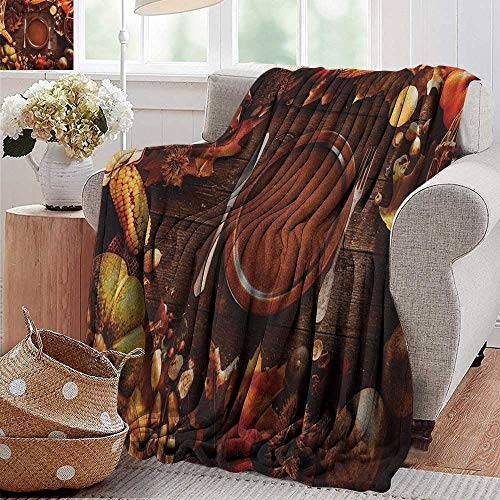 (XavieraDoherty Throw Blankets Fleece Blanket,Harvest,Dinner at Thanksgiving Fall Color Theme Plate and Cutlery Various Seasonal Food, Brown Orange,300GSM, Super Soft and Warm, Durable 35
