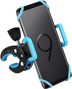 CLM-Tech Bicicleta Soporte para Teléfono móvil, Ajustable Anti Vibración Smartphone Soporte Manillar para Bicicleta Motocicleta Scooter Universal, Negro Azul Claro: Amazon.es: Electrónica