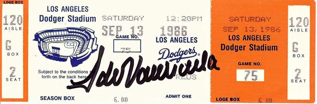Fernando Valenzuela Signed Autographed Dodger Stadium Ticket 9/13/86 JSA S69456