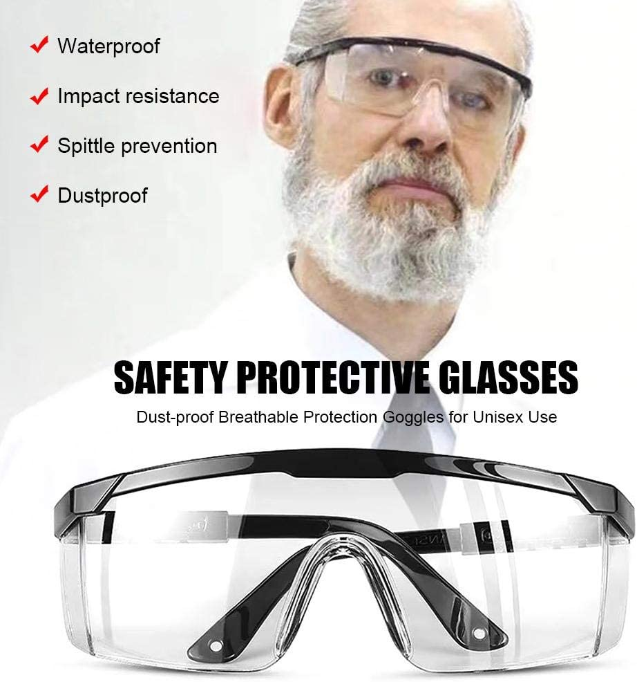 Ingeniously Gafas Protectoras de Seguridad Lentes Protectoras Transparentes de policarbonato a Prueba de Polvo Gafas de protecci/ón Transpirables para Uso Unisex