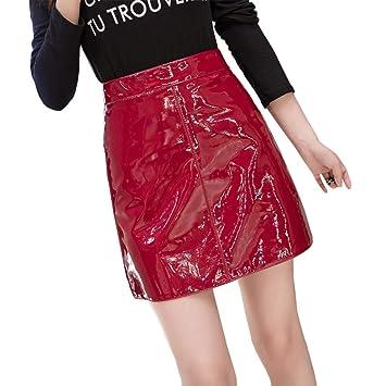 DAHDXD Falda Mini Falda de Cintura Alta para Mujer Cuero Brillante ...