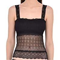 GLAMROOT Women's/Girl's Lightly Padded Net/Lace Bralette Bra Crop Top Camisole with Removable Pads, Free Size, Black
