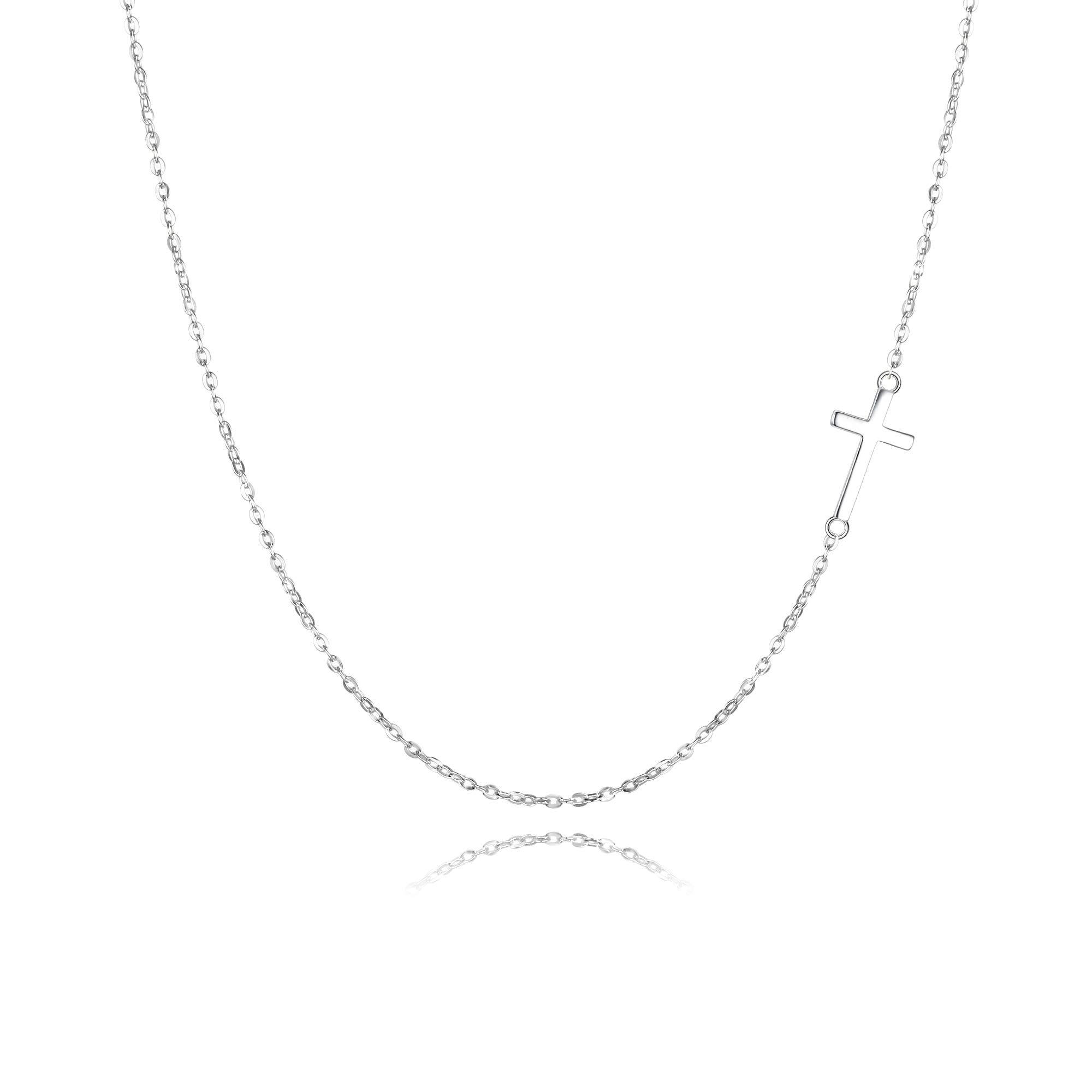 EVER FAITH 925 Sterling Silver Simple Church Sideways Cross Pendant Choker Necklace for Women, Girls