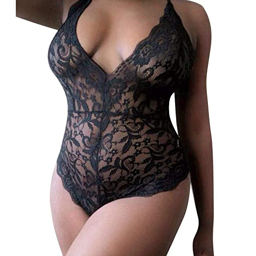 db3859913e4ae Cywulin Women s Sexy Plus Size Teddy Lingerie Floral Lace Straps One Piece  Deep V Neck Babydoll