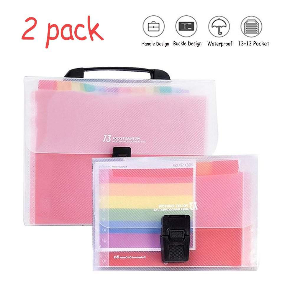 AAlisa 13 Pockets Expanding Files Folder with Handle, A4/A6 Accordion File Organizer, High Capacity Plastic Document Paper Holder with Colored Tab for Home Office School Hospital Business
