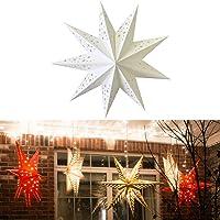 Uonlytech linternas de papel en forma de estrella de navidad 45cm plegables ahuecan luces colgantes linternas…