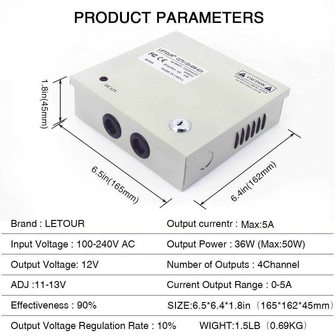Cctv Power Supply 4ch Channel Port Box Letour 12v Wiring Diagram Distributed For Dvr Security System And Cameras Output 12v5a Maximum Home
