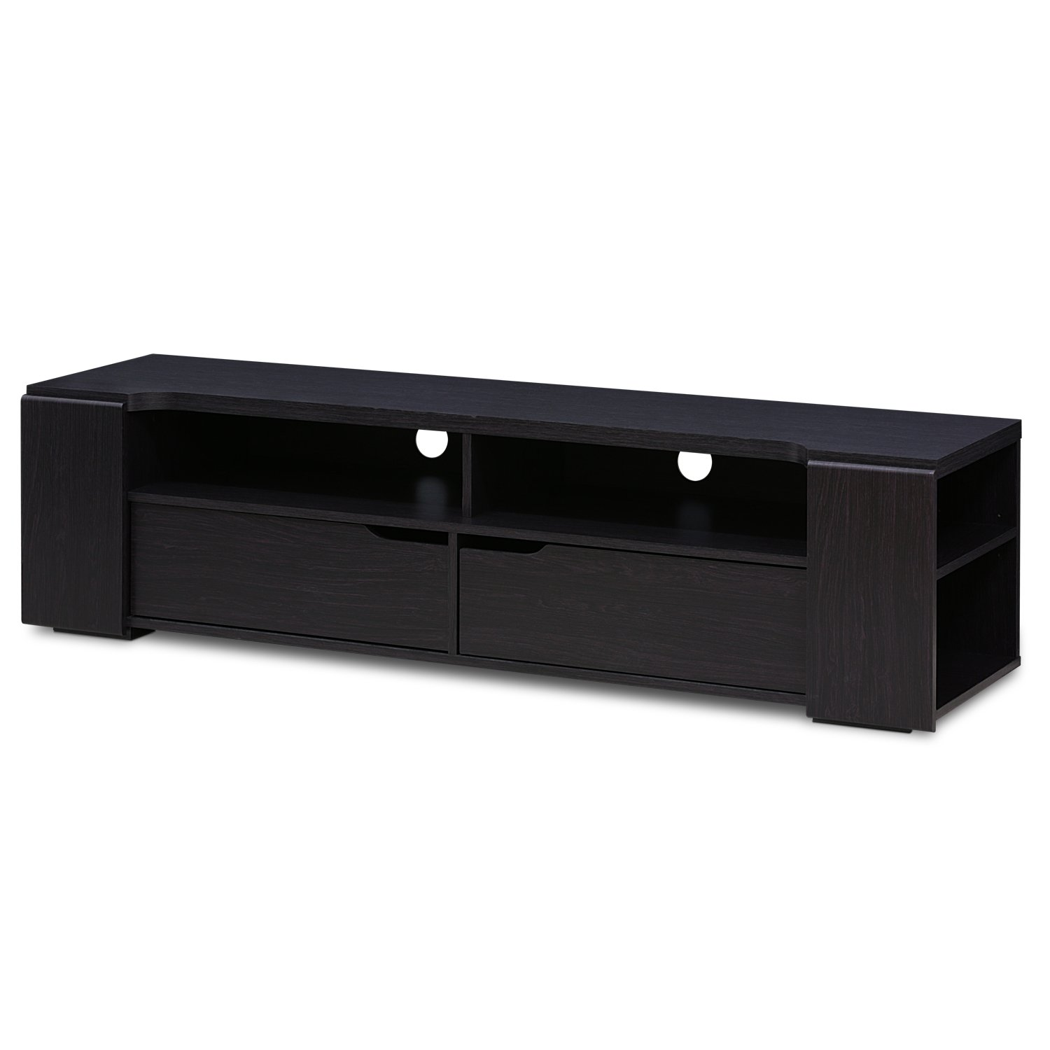 FURINNO FVR7278WG Indo Entertainment Center for TV up to 65 Inch with 2 Drawers, Wenge