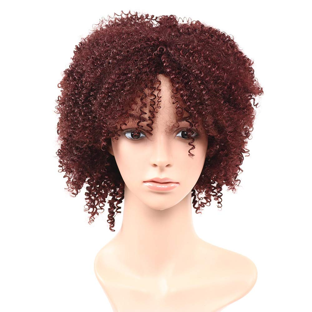 LONG LOVE African Black Curly Hair, Explosive Head Lady, European and American Chemical Fiber high Temperature Wire (Brown)