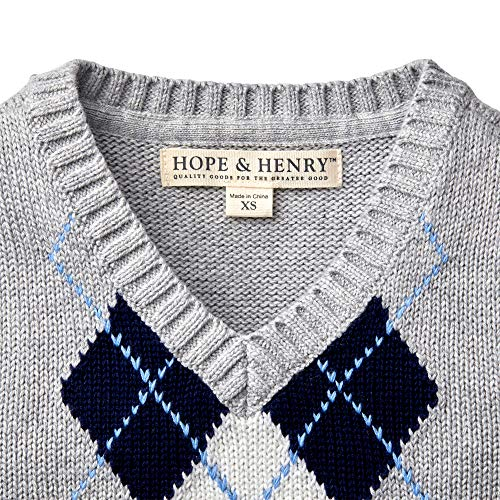 Hope & Henry Boys' Grey Argyle Cable Sweater Vest by Hope & Henry (Image #1)