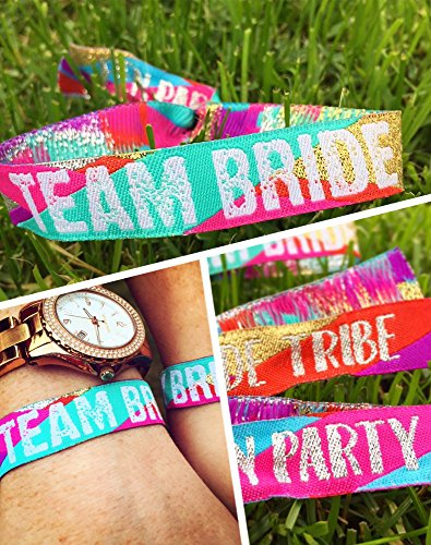 Team Bride Multi-Coloured Bachelorette Party Wristbands (Pack of 10) Bachelorette Weekend Favors]()