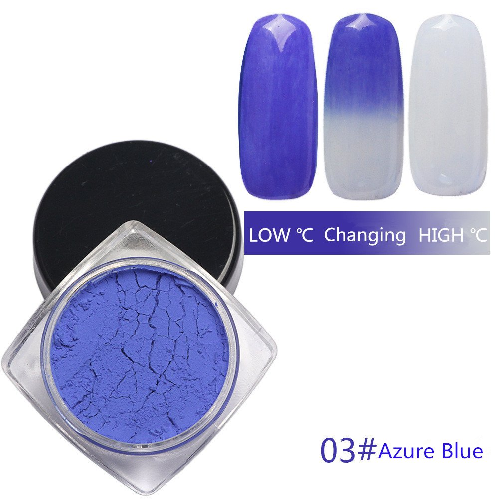 Pure Vie® 1g/Box Nail Glitter Magic Temperature Color Change Nail Powder Manicure Pigment #2