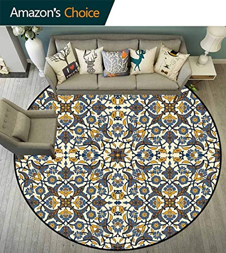 Turkish Pattern Round Rug Slip pad,Stylized Flowers in Arabesque and Traditional Style Durable and Resistant to Soiling,Slate Blue Earth Yellow Caramel,D-67 ()