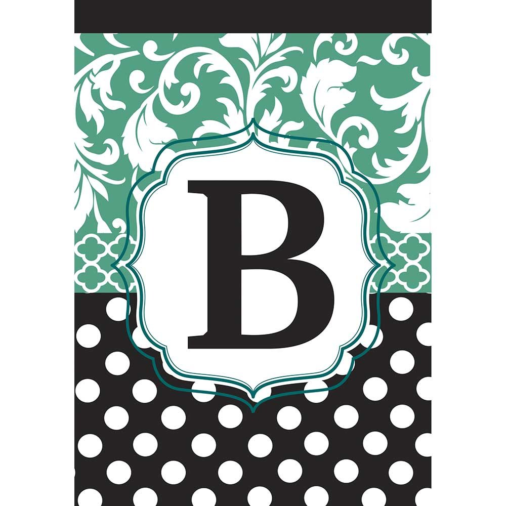 Monogram B Filigree Aqua and Black Polka Dot 18 x 13 Rectangular Double Applique Small Garden Flag