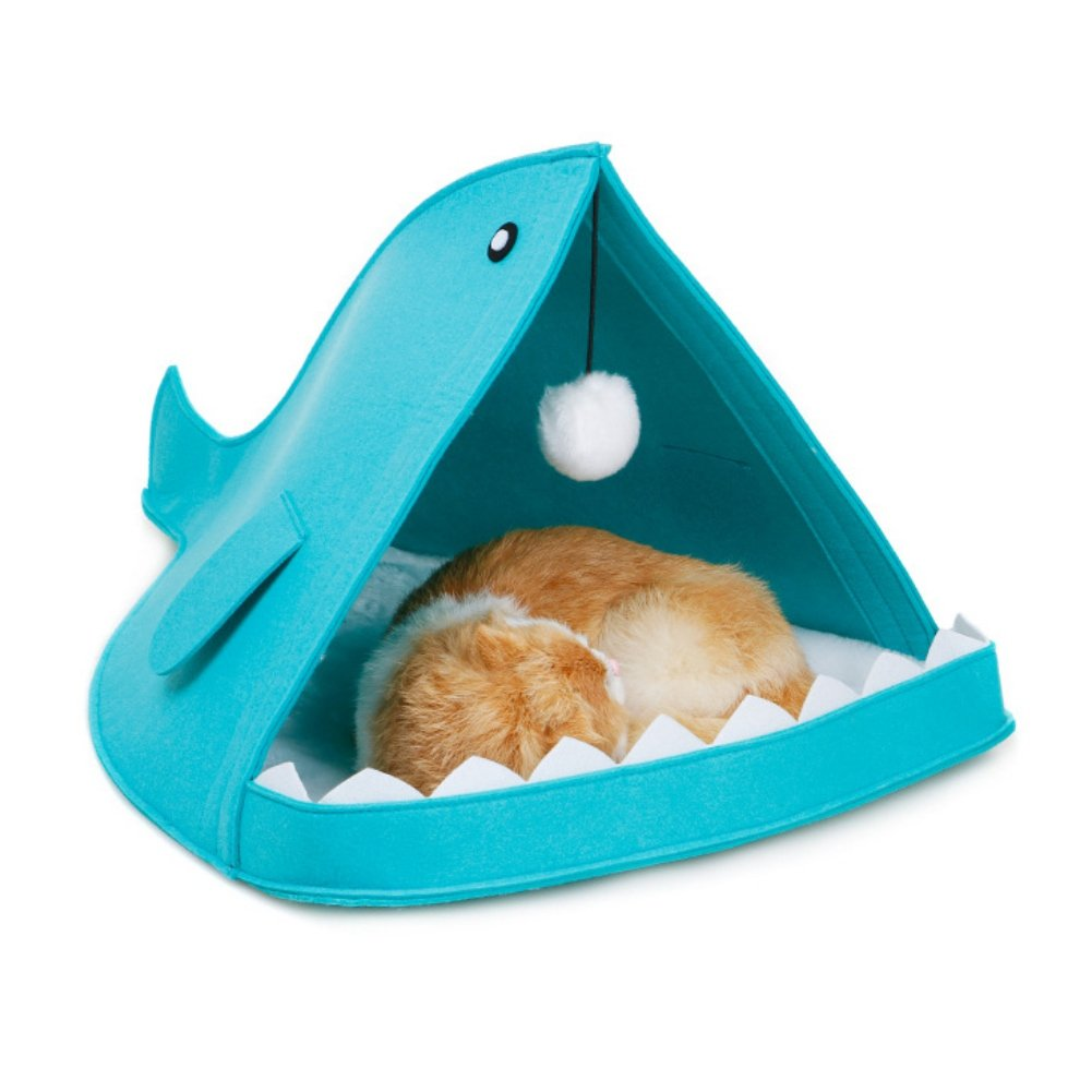 Patgoal Felt Foldable Portable House, Pet Shark Type House Bed Animal Cave Nest for Dog Cat Blue
