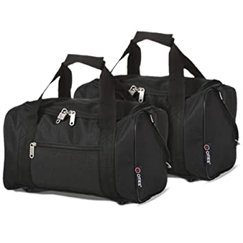 5 Cities 35x20x20 Ryanair Main Cabin Hand Luggage Holdall Flight Bag, Black  Set of 2 24d86d37bb