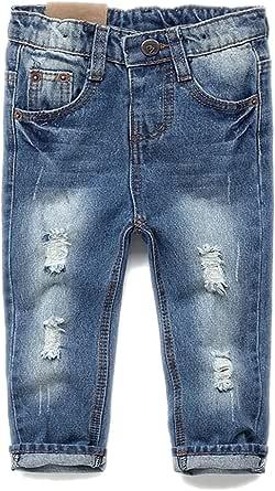 Kidscool Pantalones vaqueros suaves y delgados de cintura elástica para bebés y niños pequeños