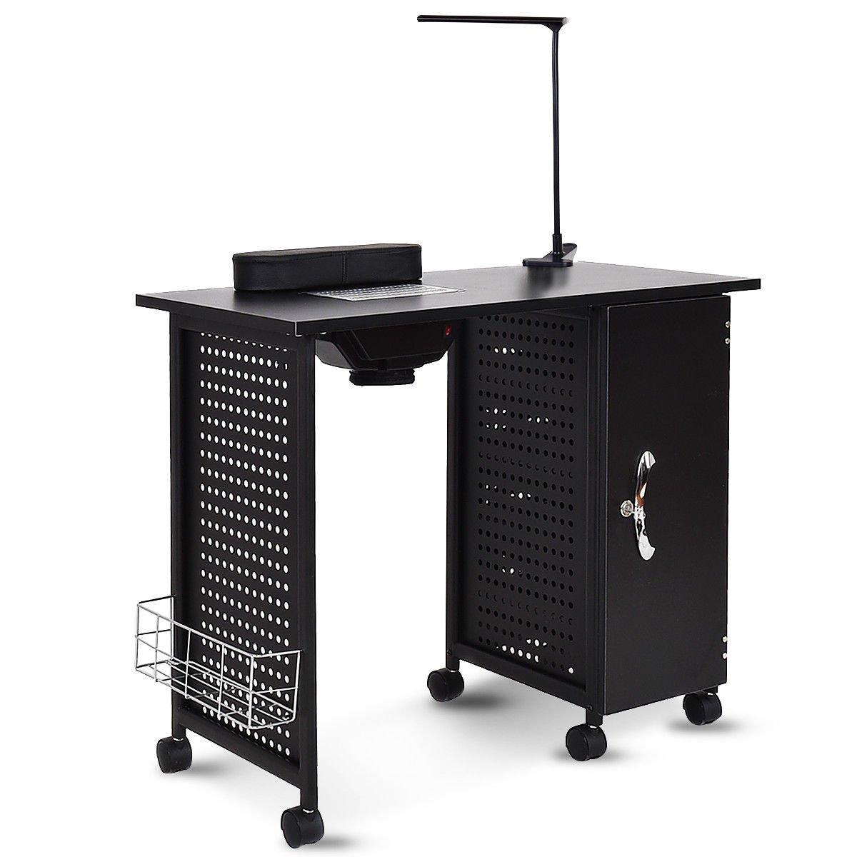 Giantex Manicure Nail Table Station Black Steel Frame Spa Salon ...