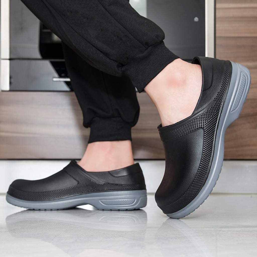 Chef Work Shoes for Men,Leisure Solid Color Waterproof Oil Proof Flats Round Toe Slip-On Slip Resistant Work Shoes