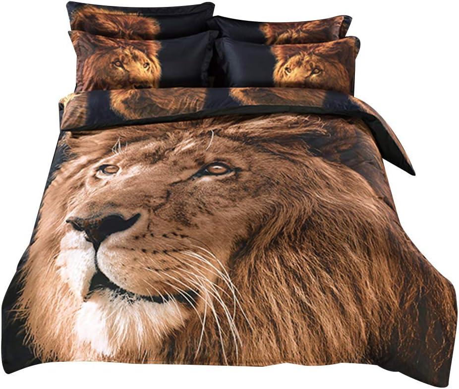 Alicemall Queen 3D Lion Bedding Set with Comforter Statement Cool 3D Lion 5-Piece Comforter Set, Twin/ Full/ Queen/ King/ California King (Queen)