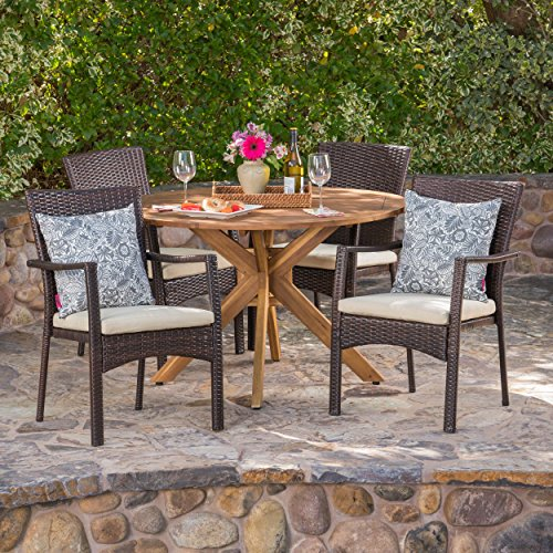 (Great Deal Furniture 304076 Joshua Outdoor 5 Piece Brown Wicker Dining Set with Teak Finish Acacia Wood Circular Table and Crème Water Resistant Cushions,)