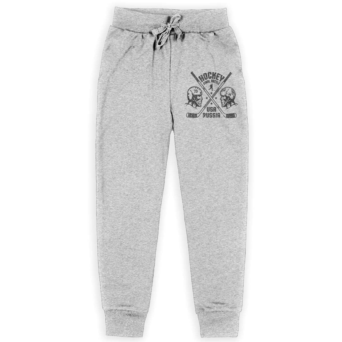 Boys Casual Sweatpants Two Hockey Players Adjustable Waist Running Pants with Pocket