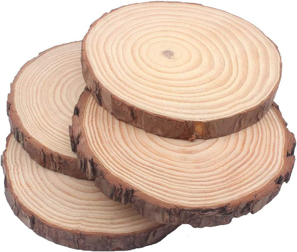 """MaiTaiTai Natural Pine Wood Slabs Untreated Large Size 4 Pcs 5-6 Inches Diameter x 3/5"""" Thick Craft Wood Unfinished Wooden Circles Great for DIY Arts and Crafts Christmas Rustic Wedding Ornaments"""