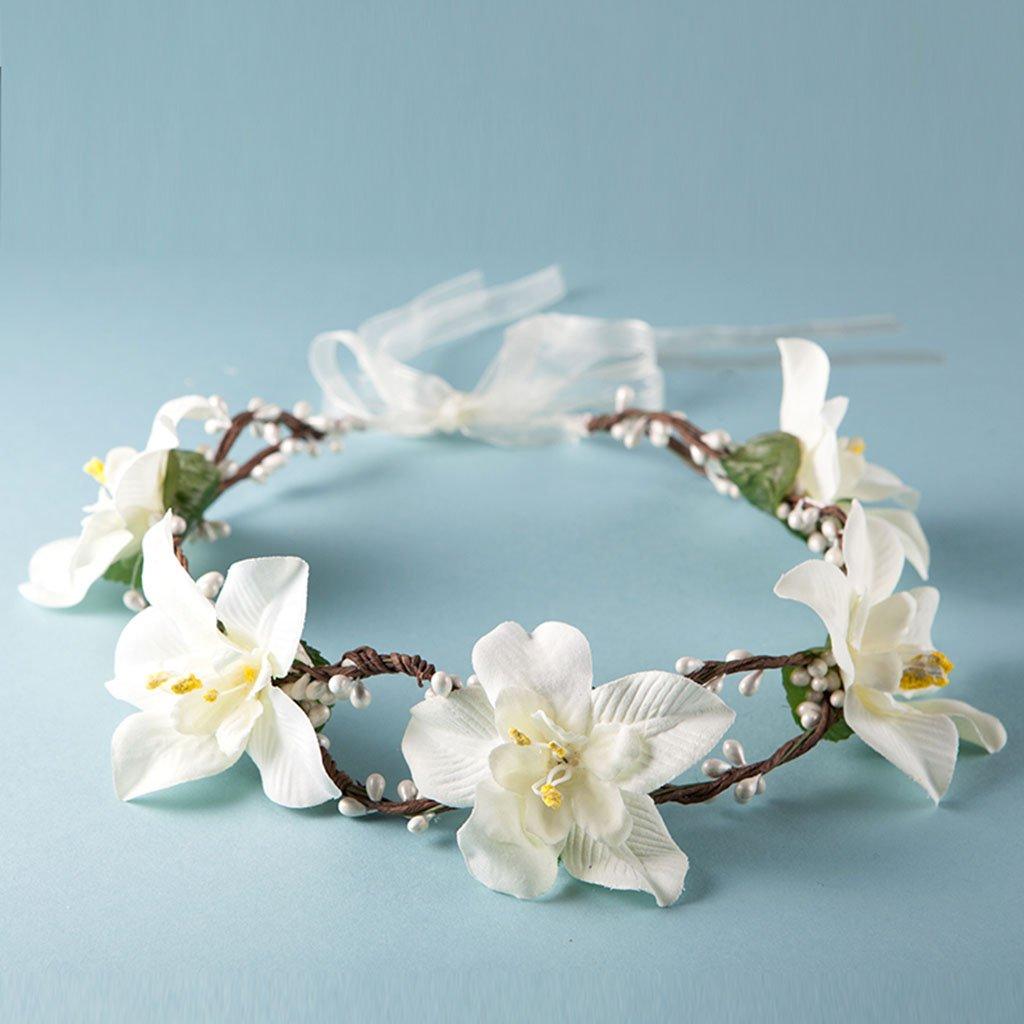 Wreath Flower, Headband Flower Garland Handmade Wedding Bride Party Ribbon Headband Wristband Hairband (Color : White)