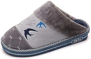 HhGold Winter Hausschuhe Männer Baumwolle Schuhe Schwalbe Muster Dekoration Warm Daheim Hausschuhe,Gray,42/43 (Farbe : Braun, Größe : 44/45)