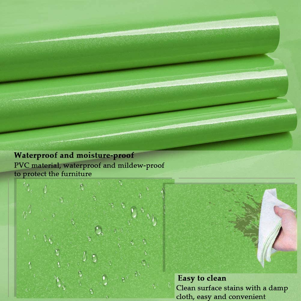 THETHO Furniture Stickers Contact Paper,Vinyl Film Waterproof Sticky Back Plastic Roll,Self Adhesive Wallpaper PVC for Cupboard Furniture Wardrobe Door Cover Scraper Green