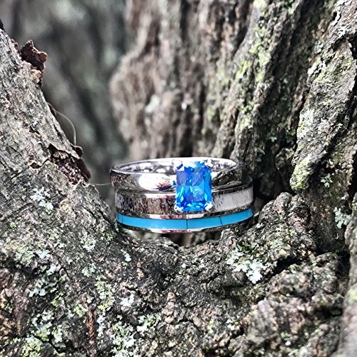 3 pc Natural Deer Antler Ring with Turquoise Inlay Engagement ring Mens Womens Wedding Ring Set Stainless Steel Sterling Silver Band by KingswayJewelry (Image #4)