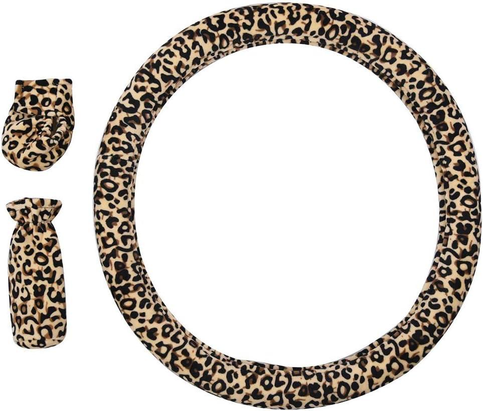bianco Sterzo Gcroet 3pcs Set Peluche Auto//Naturale Della Rotella Della Copertura Della Protezione Universale Coprivolante Anti-slip Confortante Lussuosa Struttura Morbida