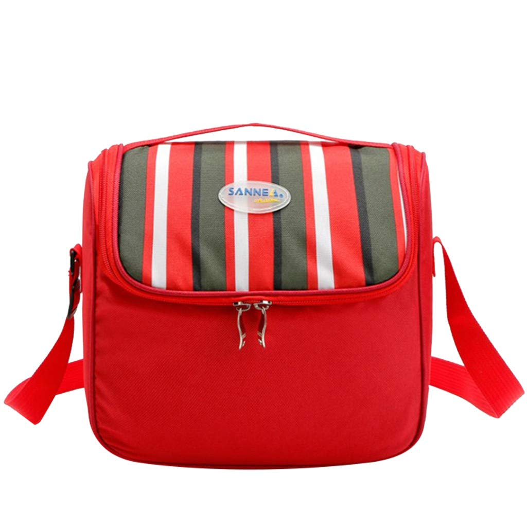 Meidexian888 Outdoor Portable Oxford Cloth Picnic Bag,Insulated Cooler Lunch Bag Camping Picnic Box Shoulder Thermal Double Layer (Red)