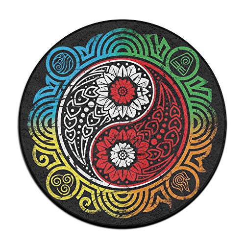 (Abstract Yin Yang Round Home Doormat Entrance Entry Way Front Door Mat Ground 23.6 Inch Rugs For Decor Decorative Men Women)