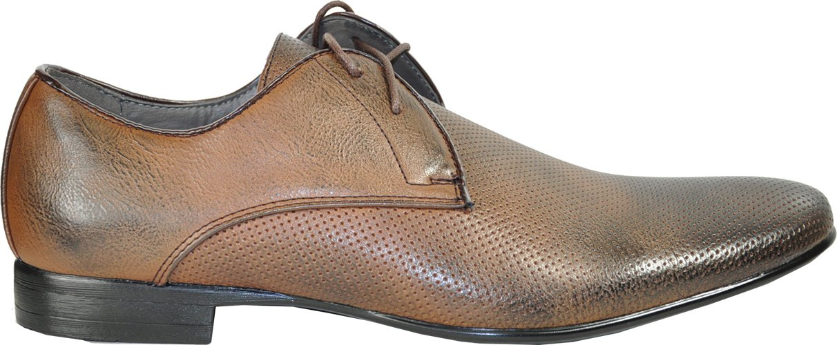 BRAVO Men Dress Shoes KLEIN-1 Oxford Fashion with Round Plain Toe Brown 7M by Bravo! (Image #5)