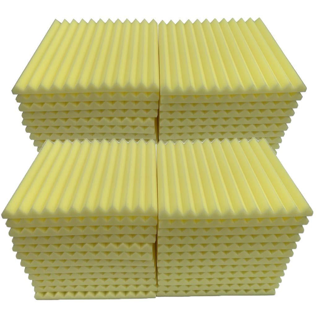 Soundproof Foam, 48Pcs Acoustic Panels Studio Foam Wedges Fireproof Soundproof Padding Wall Panels for Studio and KTV etc (Yellow)