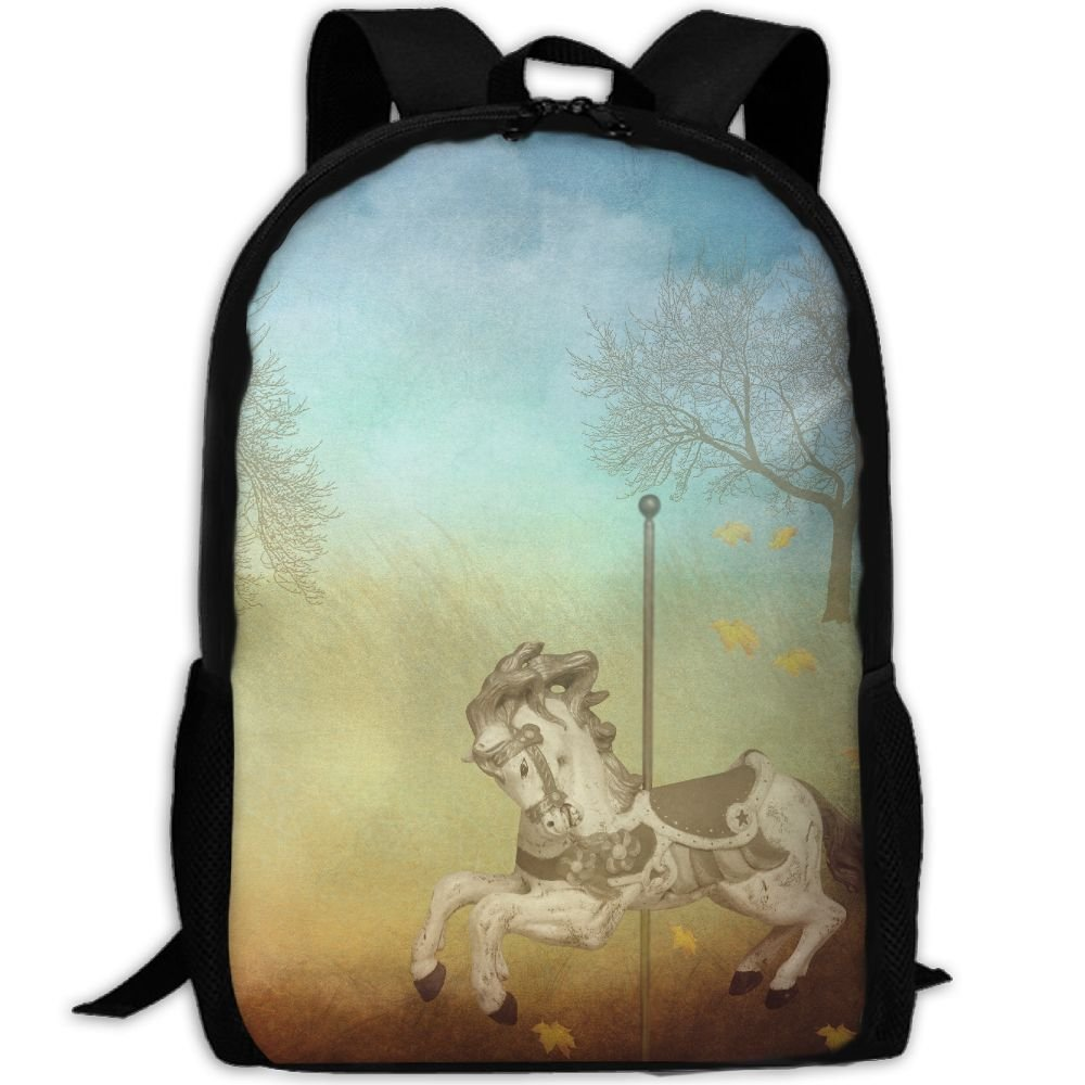 OIlXKV Fatansy Carousel Print Custom Casual School Bag Backpack Multipurpose Travel Daypack For Adult